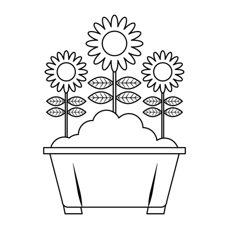 potted flowers natural decoration leaves plant vector illustration thin line design