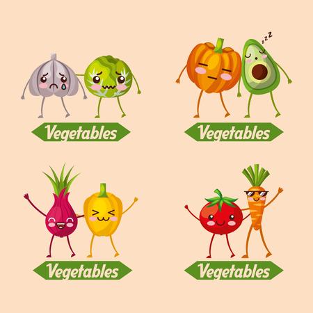 vegetables  set cartoon food vector illustration Illustration