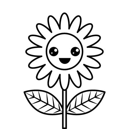 cute happy kawaii flower decoration cartoon vector illustration thin line design