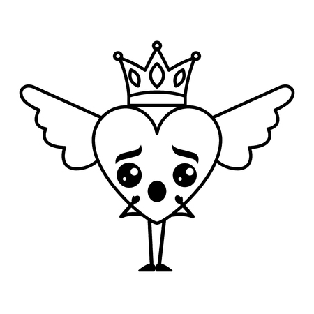 Cartoon heart in love surprise kawaii wings and crown vector illustration thin line design
