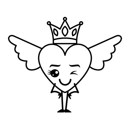 Cartoon heart in love wink kawaii wings and crown vector illustration thin line design