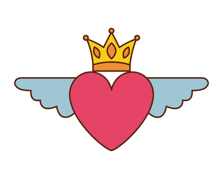 Heart in love with wings crown decoration vector illustration Banque d'images - 96823799