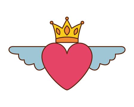 Herz in der Liebe mit Flügelkronendekorations-Vektorillustration Standard-Bild - 96823799