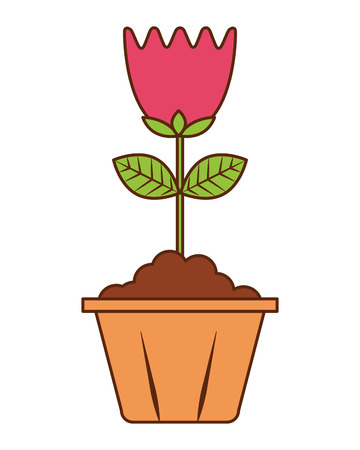 flower in pot decoration interior ornament vector illustration Ilustrace