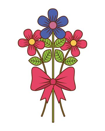bouquet delicate flowers wrap ribbon bow decoration