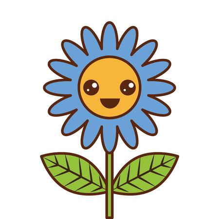 cute happy  flower decoration cartoon vector illustration