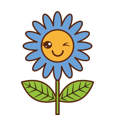 cute wink  flower decoration cartoon vector illustration Foto de archivo - 96859357