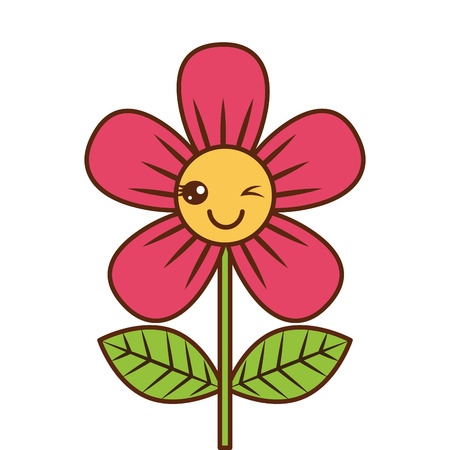 beautiful flower wink  cartoon vector illustration Vettoriali