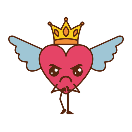 cartoon heart in love angry  wings and crown vector illustration