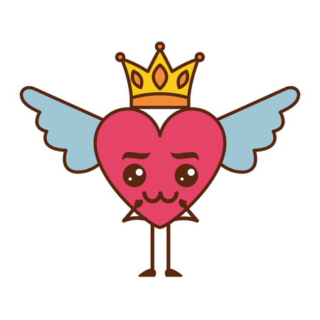 cartoon heart in love   wings and crown vector illustration