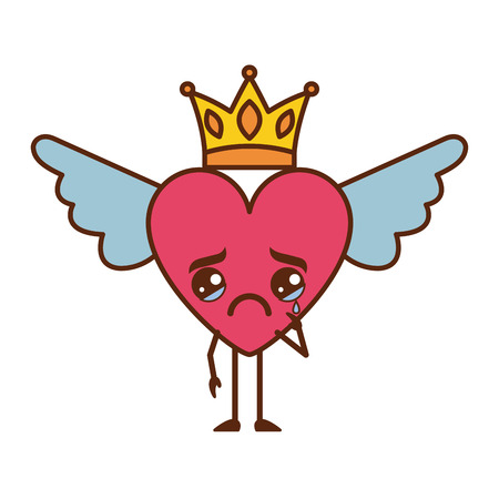 cartoon heart in love crying  wings and crown vector illustration Illustration