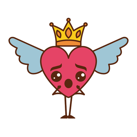 cartoon heart in love surprise   wings and crown vector illustration
