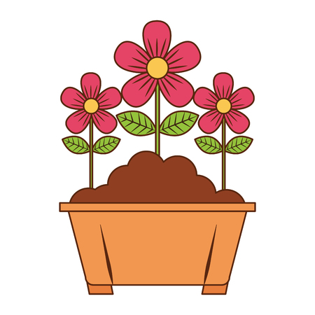potted flowers natural decoration leaves plant vector illustration Stock Vector - 96806545