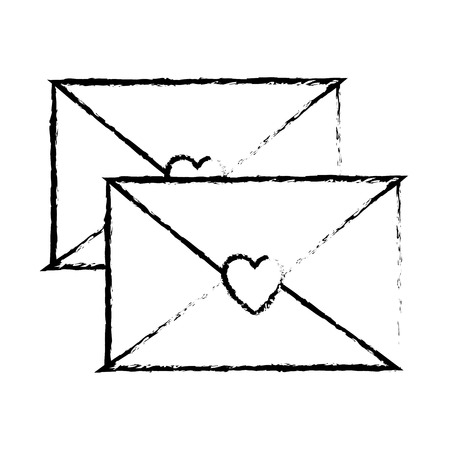 envelope message greeting heart love romantic vector illustration sketch design
