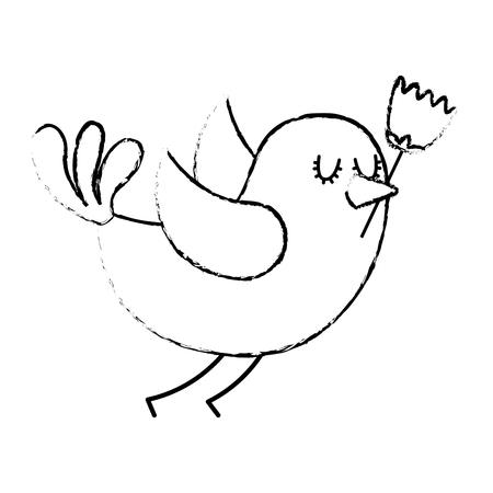 cartoon cute bird with tulip flower in beak vector illustration sketch design