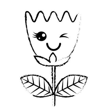 wink flower tulip leaves cartoon vector illustration sketch design