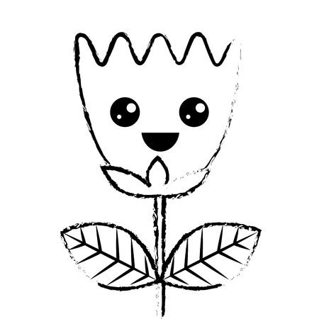 happy flower tulip leaves cartoon vector illustration sketch design