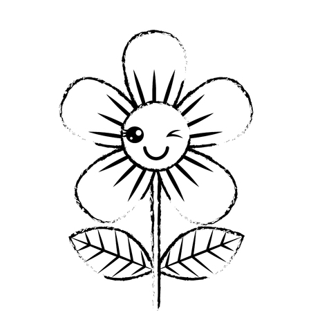 beautiful flower wink   cartoon vector illustration sketch design
