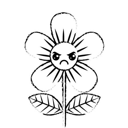 beautiful flower angry cartoon vector illustration sketch design