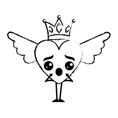 cartoon heart in love surprise wings and crown vector illustration sketch design