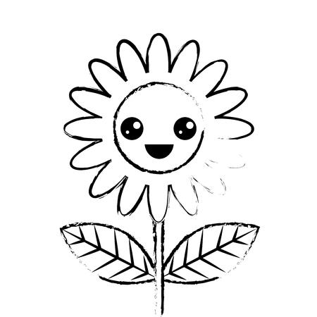cute happy flower decoration cartoon vector illustration sketch design