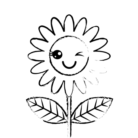 cute wink flower decoration cartoon vector illustration sketch design Foto de archivo - 96807458