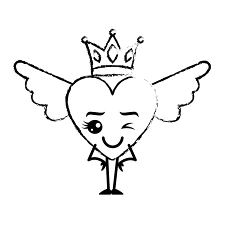 cartoon heart in love wink wings and crown vector illustration sketch design Illustration