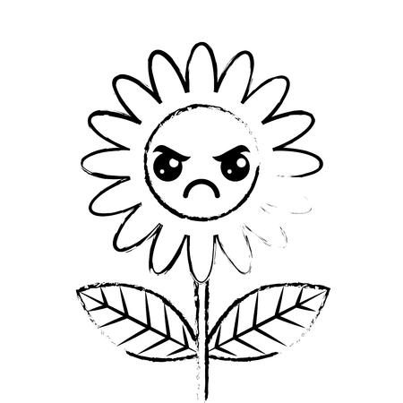 cute angry flower decoration cartoon vector illustration sketch design