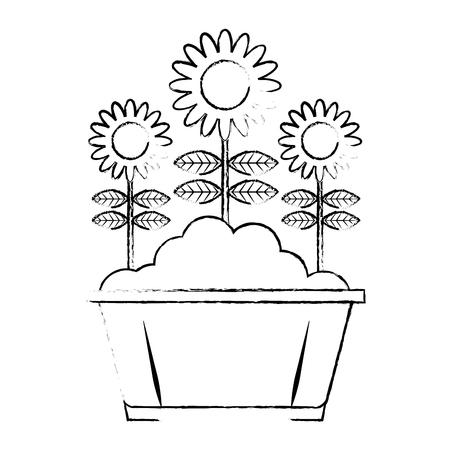 potted flowers natural decoration leaves plant vector illustration sketch design