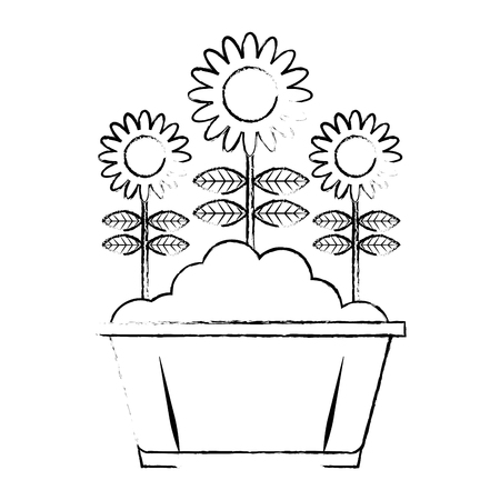 potted flowers natural decoration leaves plant vector illustration sketch design