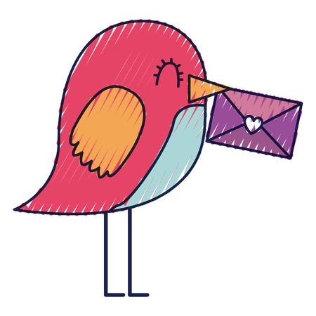 sweet bird with envelope message in beak cartoon vector illustration drawing color design