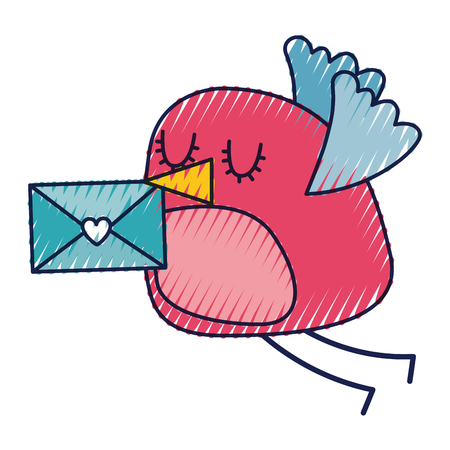 sweet bird with envelope message in beak cartoon vector illustration drawing color design