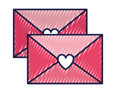 envelope message greeting heart love romantic vector illustration