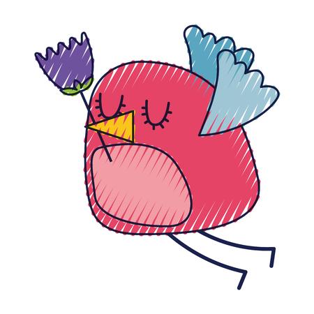 bird holding bunch flower natural decoration vector illustration Ilustracja