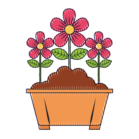 potted flowers natural decoration leaves plant vector illustration Stock Vector - 96812019