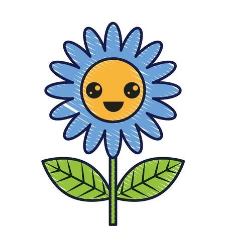 cute wink flower decoration cartoon vector illustration Foto de archivo - 96811954