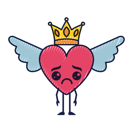 cartoon sad heart in love wings and crown vector illustration Illustration