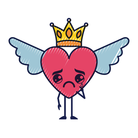 cartoon heart in love crying wings and crown vector illustration