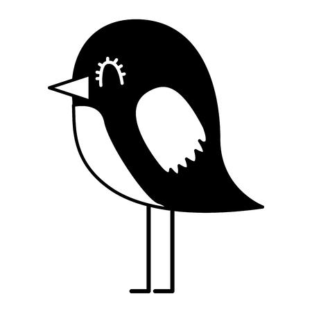 cartoon cute bird adorable animal vector illustration black and white
