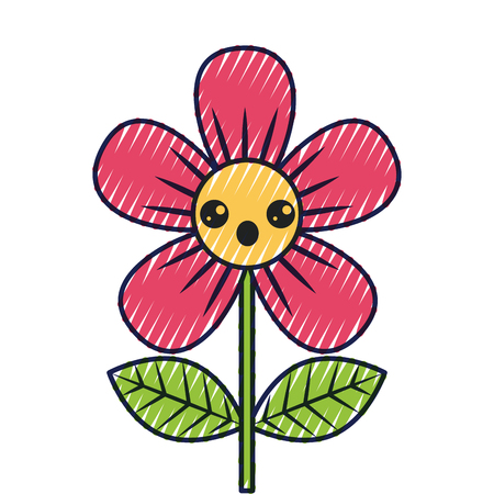 beautiful flower surprise cartoon vector illustration