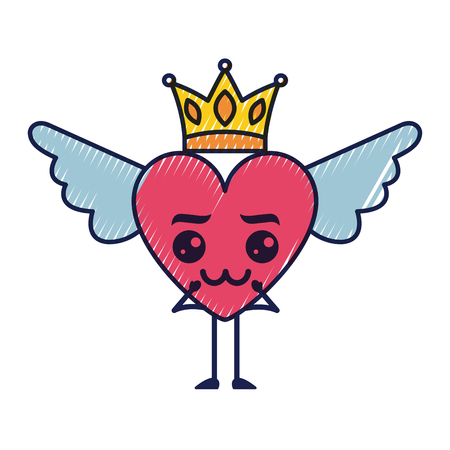cartoon heart in love wings and crown vector illustration Illustration
