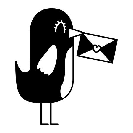 sweet bird with envelope message in beak cartoon vector illustration black and white Иллюстрация