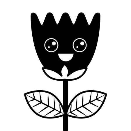 happy flower tulip leaves cartoon vector illustration 版權商用圖片 - 96813190