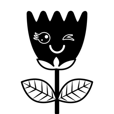 wink flower tulip leaves cartoon vector illustration