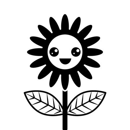 cute flower decoration cartoon vector illustration Illustration
