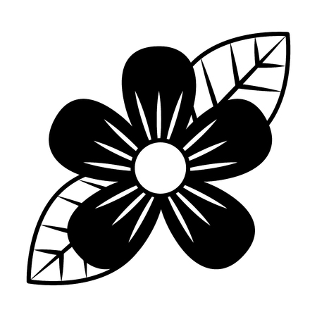 beautiful one flower on leaves decoration vector illustration black and white  イラスト・ベクター素材