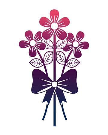 bouquet delicate flowers wrap ribbon bow decoration degrade color design Illustration
