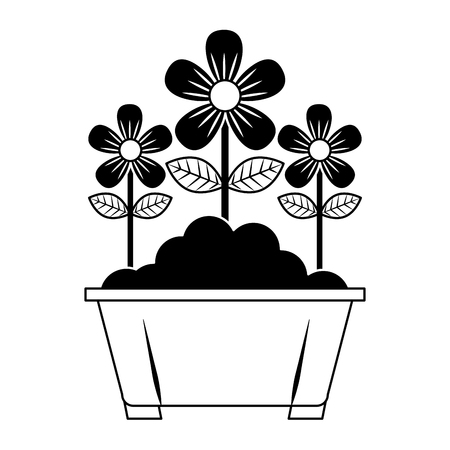 potted flowers natural decoration leaves plant vector illustration