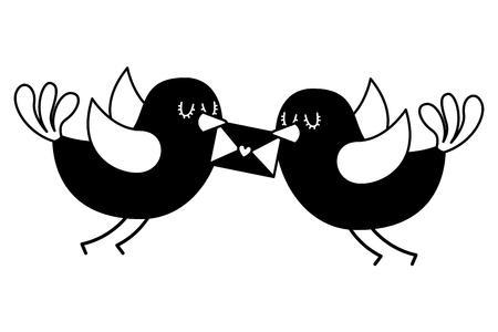くちばしの素敵なベクトルイラストでメッセージを持つ美しい飛ぶ鳥  イラスト・ベクター素材
