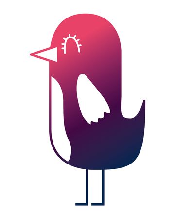 cartoon cute bird adorable animal vector illustration degrade color design